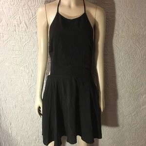Tobi Black Open Back Halter Neck Skater Dress
